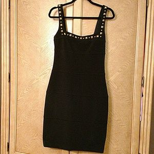 Cache black stretchy dress with gold embellishment
